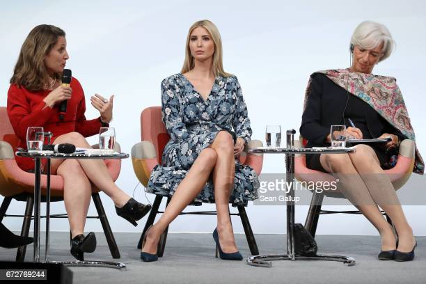 Canadian Minister of Foreign Affairs Chrystia Freeland talks to Ivanka Trump daughter of US President Donald Trump and International Monetary Fund...