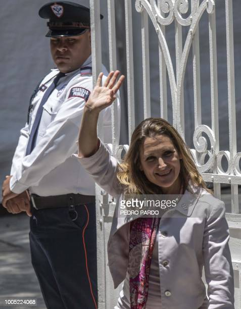 Canadian Minister of Foreign Affairs Chrystia Freeland waves upon arriving at the transition offices of Mexican Presidentelect Andres Manuel Lopez...