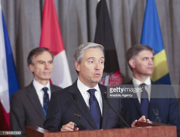 Canadian Minister of Foreign AffairsFrancoisPhilippe Champagne speaks during a press conference alongside British International Development Minister...