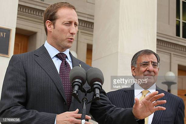 Canadian Minister of National Defence Peter MacKay and Secretary of Defense Leon E Panetta speak to the media at the Pentagon on September 30 2011 in...