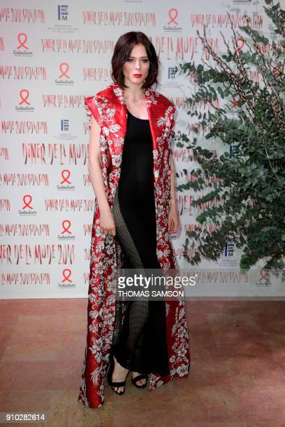 Canadian model Coco Rocha poses upon arriving to the Diner de la Mode fundraiser dinner to benefit the French antiAIDS association Sidaction on...
