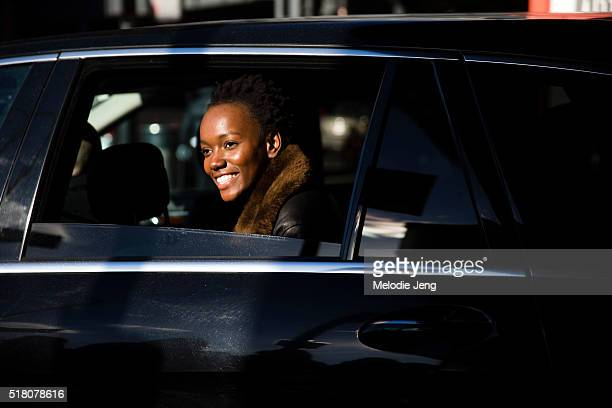 Canadian model Herieth Paul exits the Tibi show at Skylight 60 Tenth by car during New York Fashion Week Women's Fall/Winter 2016 on February 13 2016...