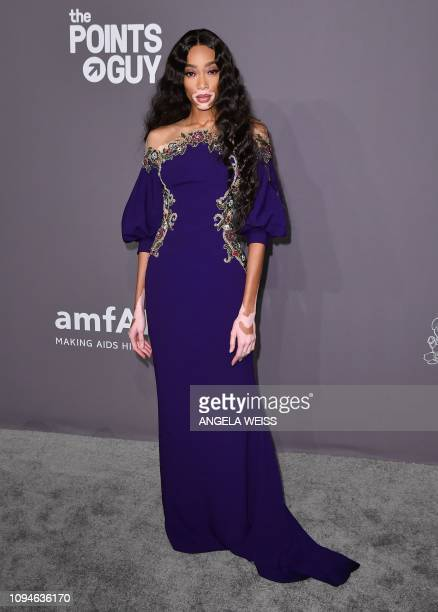 Canadian model Winnie Harlow arrives at The amfAR Gala New York the Foundations 21st annual benefit for AIDS research during New York Fashion Week at...