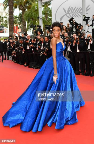 Canadian model Winnie Harlow poses as she arrives on May 18 2017 for the screening of the film 'Loveless' at the 70th edition of the Cannes Film...