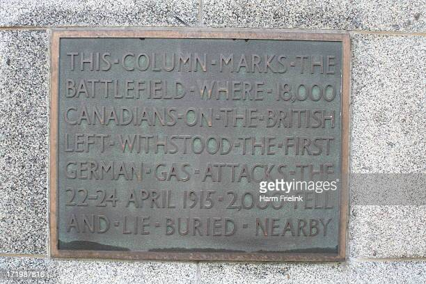 Canadian monument for the first Gas attack at St. Juliaan Belgium . A combination of French territorials and Algerian troops held the line to the...