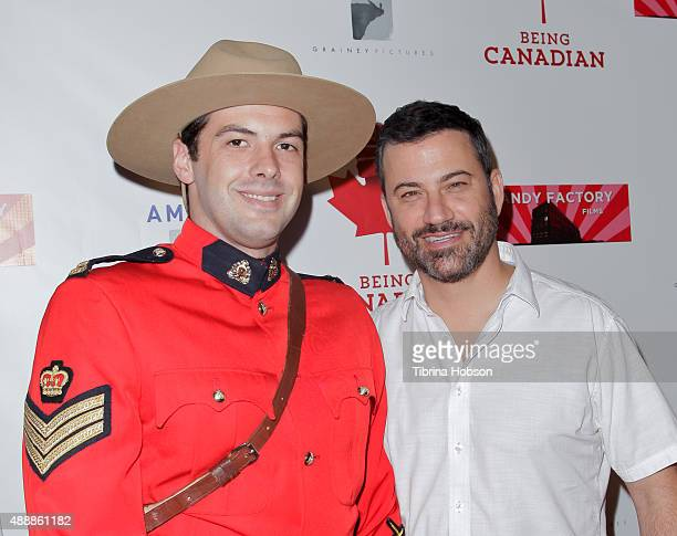 Canadian Mountie and Jimmy Kimmel attend the premiere of 'Being Canadian' at Crest Westwood on September 17 2015 in Westwood California