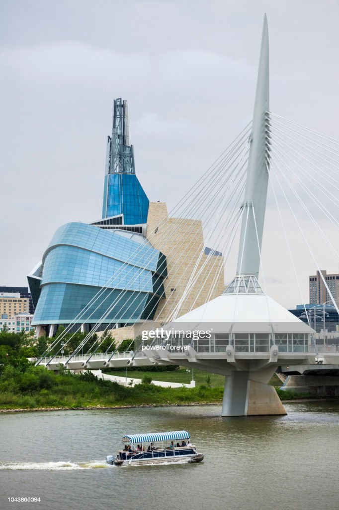 Canadian Museum of Human Rights and Esplanade Riel Bridge in Winnipeg, Manitoba, Canada : Stock Photo