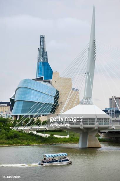 Canadian Museum of Human Rights and Esplanade Riel Bridge in Winnipeg, Manitoba, Canada