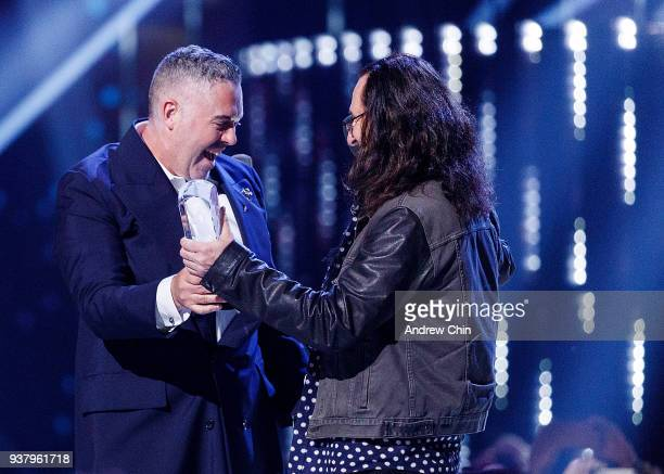 Canadian musician Ed Robertson of Barenaked Ladies receives the award during the 2018 JUNO Awards at Rogers Arena on March 25 2018 in Vancouver Canada