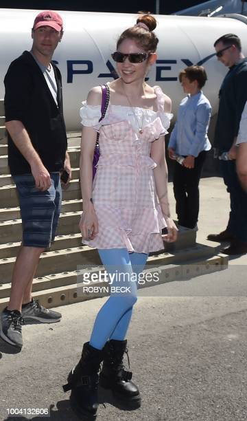 Canadian musician Grimes attends the 2018 Space X Hyperloop Pod Competition in Hawthorne California on July 22 2018 Students from colleges and...