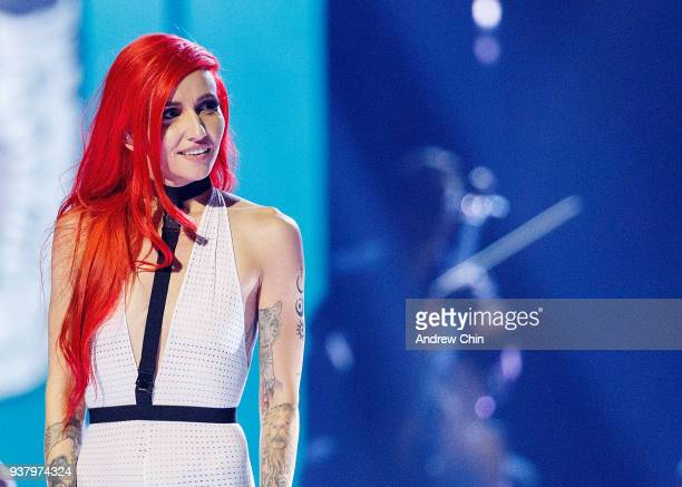 Canadian musician Lights performs on stage during the 2018 JUNO Awards at Rogers Arena on March 25 2018 in Vancouver Canada
