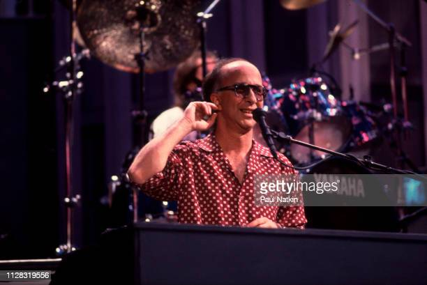 Canadian musician Paul Schaffer plays keyboards onstage during a live taping of an episode of the 'Late Night With David Letterman' television show...