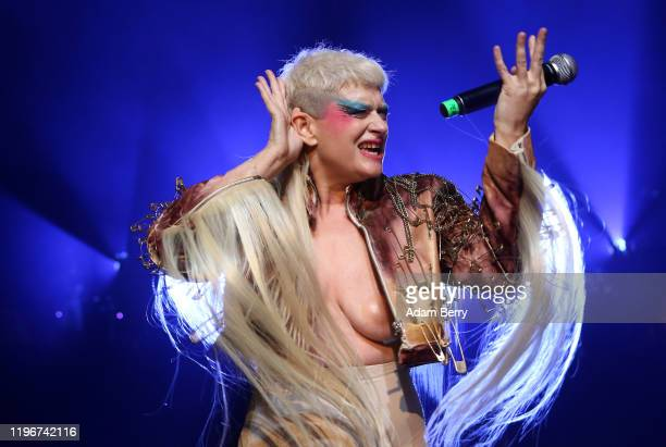 Canadian musician producer and performance artist Peaches performs during her show Peaches There's Only One Peach With The Hole In The Middle on...