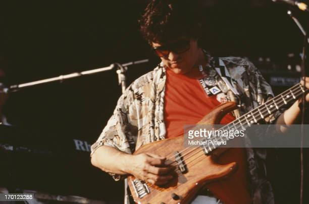 Canadian musician Rick Danko performs on stage during a concert version of Pink Floyd's 'The Wall', Berlin, Germany, 21st July 1990. The concert...