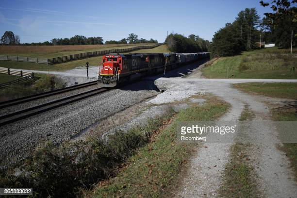 Canadian National Railway Co locomotives lead a Norfolk Southern Corp freight train through Winfield Tennessee US on Tuesday Oct 17 2017 Norfolk...