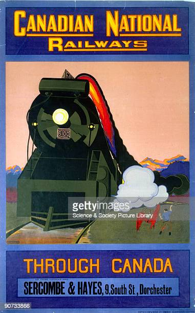 Canadian National Railways poster 'Through Canada' by MoyThomas Canadian National locomotive no 6100 and train with mountains in background Issued...