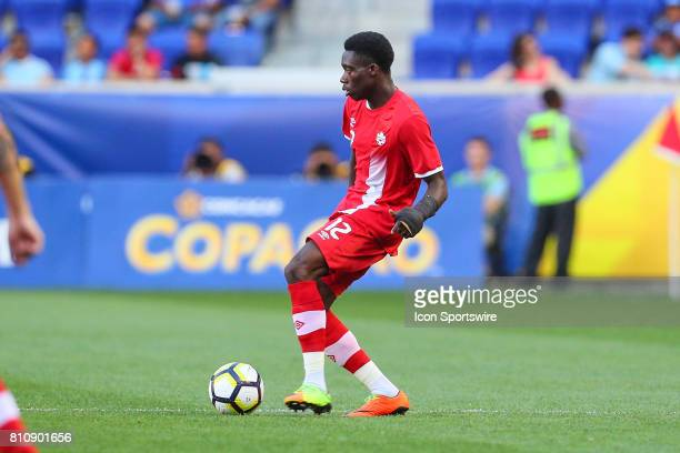 Canadian National Soccer Team midfielder Alphonso Davies during the first half of the CONCACAF Gold Cup Group A game between the Canadian National...