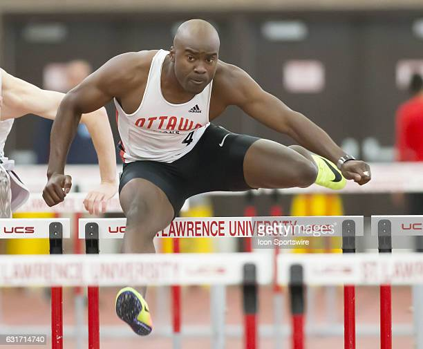 Canadian Olympian Sekou Kaba runs to victory in the men's 60m hurdles at the 2017 St Lawrence College Saints Indoor Invitational and Combined Events...