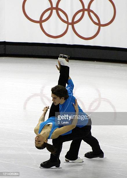 Canadian Olympic figure skaters Jessica Dube and Bryce Davison during practice at the Palavela figure skating and short track venue at the Torino...