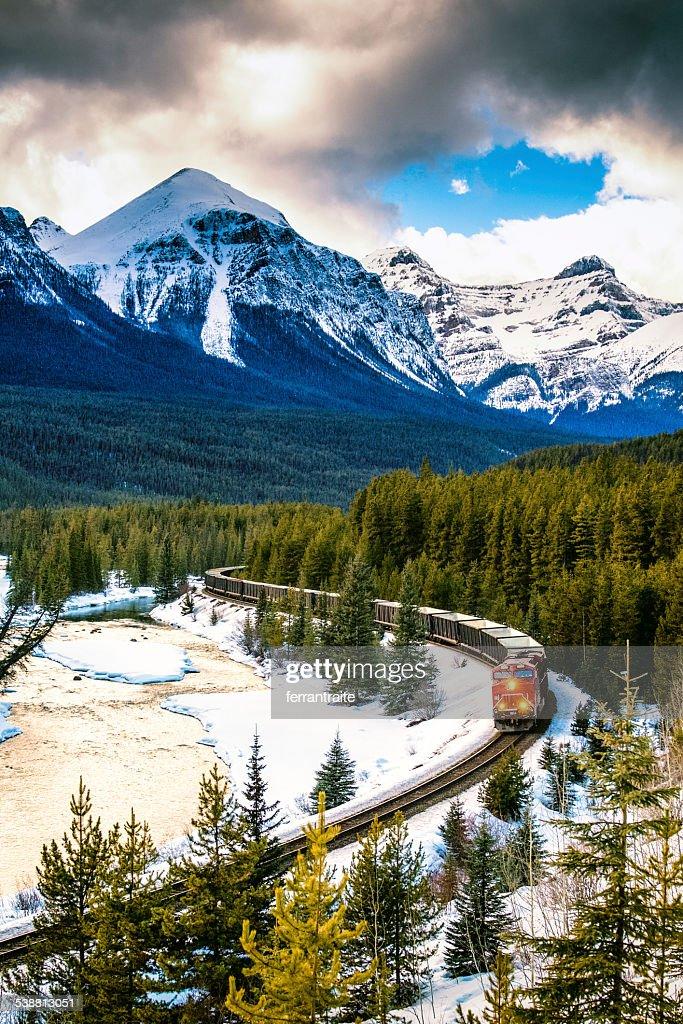 Canadian Pacific Railway Train through Banff National Park Canada : Stock Photo