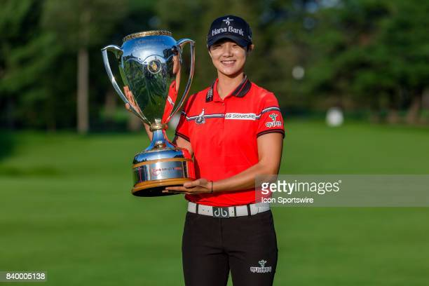 Canadian Pacific Women's Open champion Sung Hyun Park holds the trophy after the final round of the Canadian Pacific Women's Open on August 27 2017...