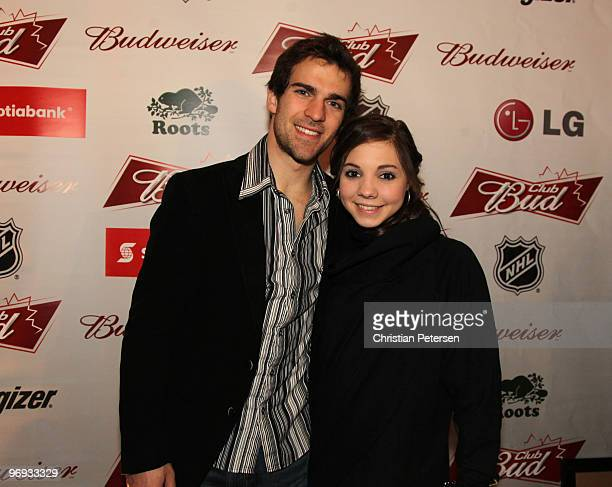 Canadian pairs figure skaters Bryce Davison and Jessica Dube attend the Club Bud NHL Party at the Commodore Ballroom on February 20 2010 during the...