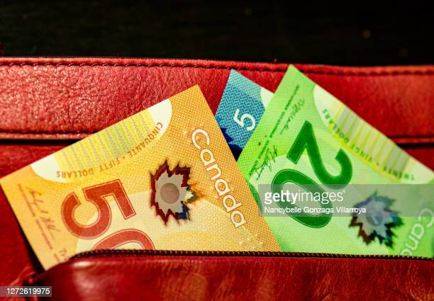 canadian paper currency in different denominations a purse - canadian currency stock pictures, royalty-free photos & images