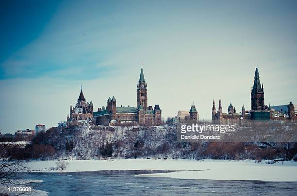 Canadian Parliament Hill by Ottawa River