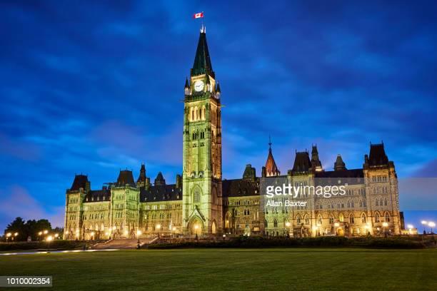 Canadian Parliamentary buildings illuminated at dusk in Ottawa