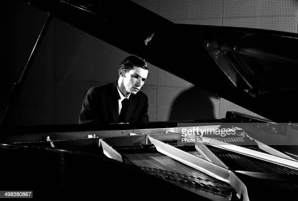 Canadian pianist Glenn Gould at a piano, Toronto, Canada, 1956.