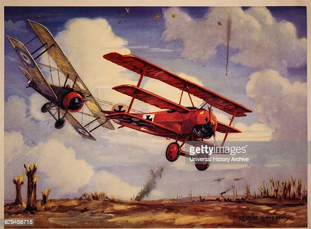 Canadian Pilot Captain Arthur Roy Brown in his Sopwith Camel Downing Baron Manfred von Richthofen in his Fokker TriPlane April 21 1918
