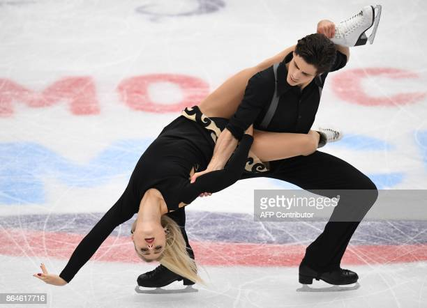 Canadian Piper Gilles and Paul Poirier compete in the Ice Dance free dance at the ISU Grand Prix Rostelecom Cup in Moscow on October 21 2017 / AFP...