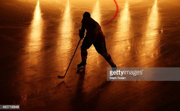 Canadian player makes his way onto the rink before the International Ice Hockey Series between the United States and Canada at Allphones Arena on...
