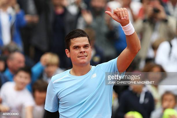 Canadian player Milos Raonic celebrates after winning against Portuguese Joao Sousa during their MonteCarlo ATP Masters Series Tournament tennis...
