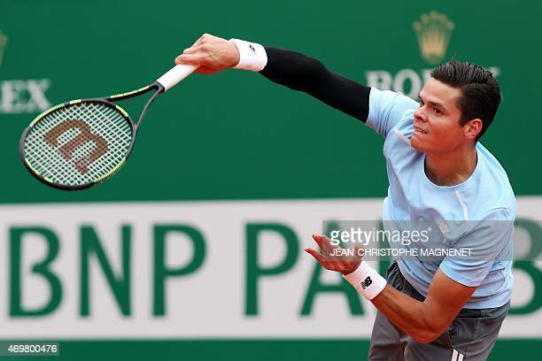 Canadian player Milos Raonic serves to Portuguese Joao Sousa during their MonteCarlo ATP Masters Series Tournament tennis match on April 15 2015 in...
