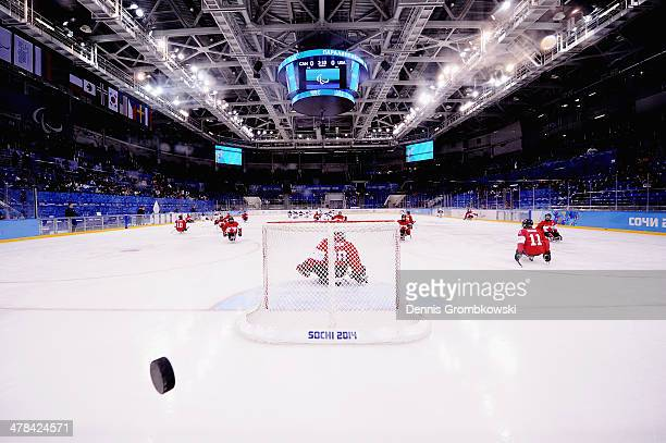 Canadian players warm up prior to the Ice Sledge Hockey Playoff semi final between Canada and the United States of America during day six of Sochi...