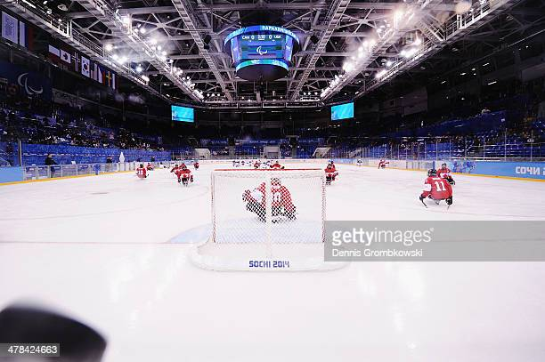 Canadian players warm up prior to the Ice Sledge Hockey Play-off semi final between Canada and the United States of America during day six of Sochi...