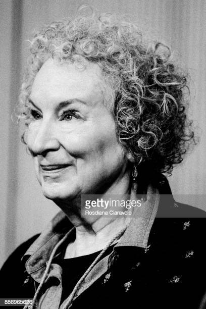 Canadian poet novelist literary critic essayist inventor and environmental activist Margaret Atwood poses for portrait session at Noir In Festival on...
