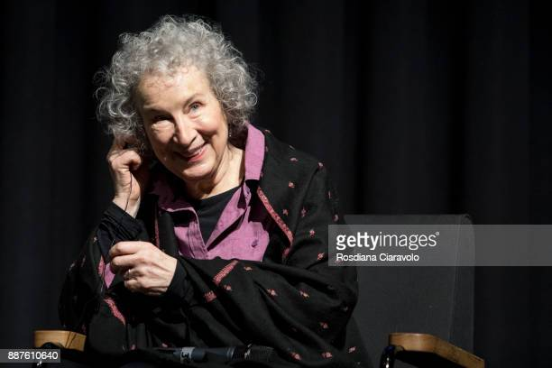 Canadian poet novelist literary critic essayist inventor and environmental activist Margaret Atwood attends Noir In Festival on December 6 2017 in...