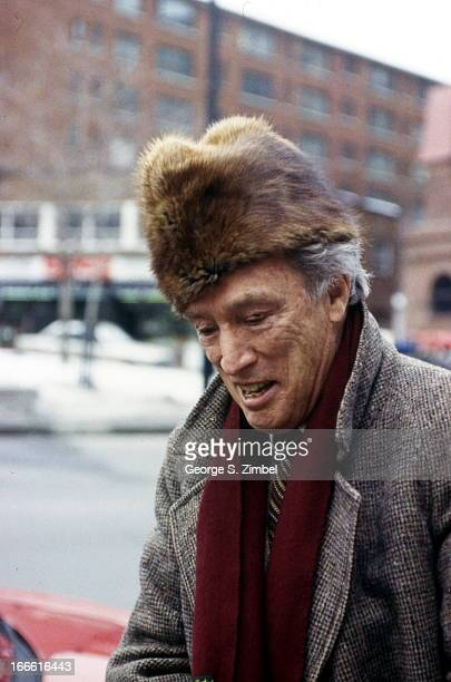Canadian politician and former Prime Minister Pierre Trudeau stands at a bus stop Montreal Quebec Canada 1990