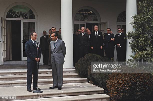 Canadian politician and Prime Minister of Canada Pierre Trudeau pictured with President of the United States Richard Nixon as they speak to the press...