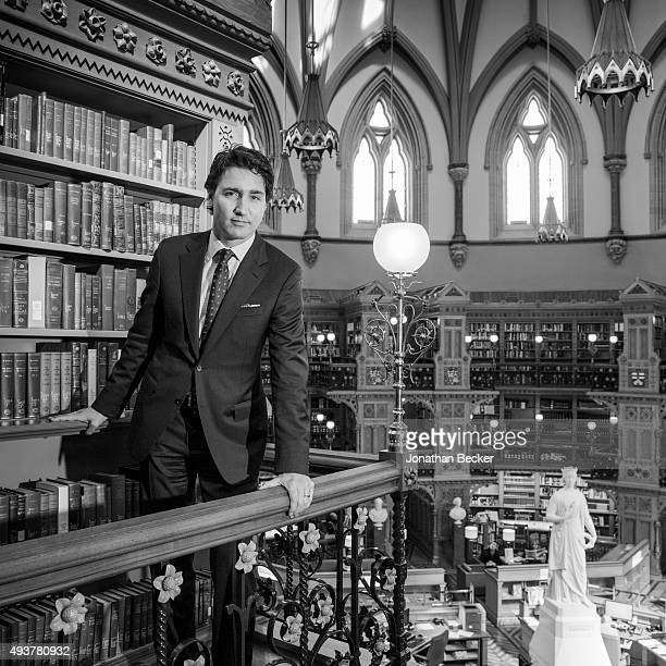 Canadian politician and the leader of the Liberal Party of Canada, Justin Trudeau is photographed for Vanity Fair Magazine on April 1, 2014 in the...