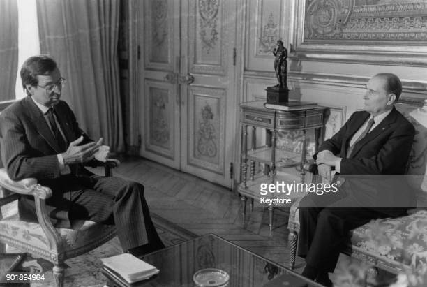 Canadian politician Robert Bourassa the Prime Minister of Quebec meeting with French President François Mitterrand at the Élysée Palace in Paris...