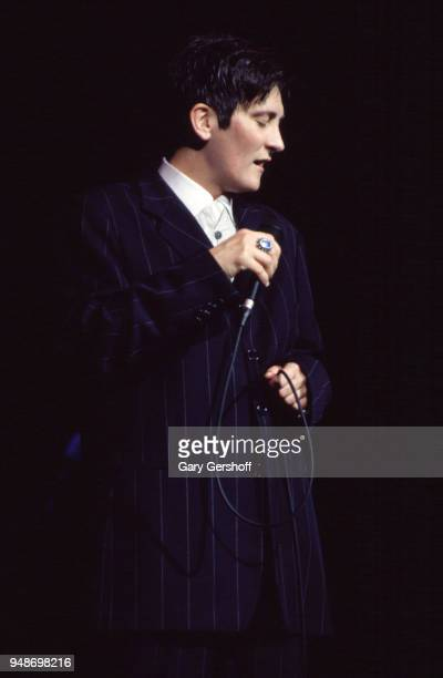 Canadian Pop and Country musician kd lang performs onstage at Radio City Music Hall, New York, New York, October 16, 1997.