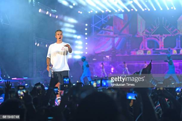 Canadian pop singer Justin Bieber performs for his purpose tour at DY Patil Stadium Nerul on May 10 2017 in Mumbai India Justin Bieber a 23yearold...