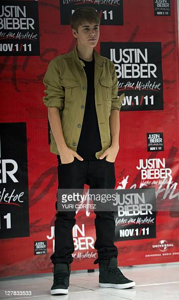 Canadian pop singer Justin Bieber poses during a photo opportunity before his concert as part of his 'My World Tour' at the Foro Sol complex in...