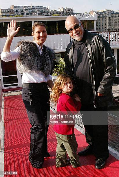 Canadian pop star Celine Dion her husband Rene Angelil and their child Rene Charles at the Celine Dion and Family Sighting in Paris October 27 2005...