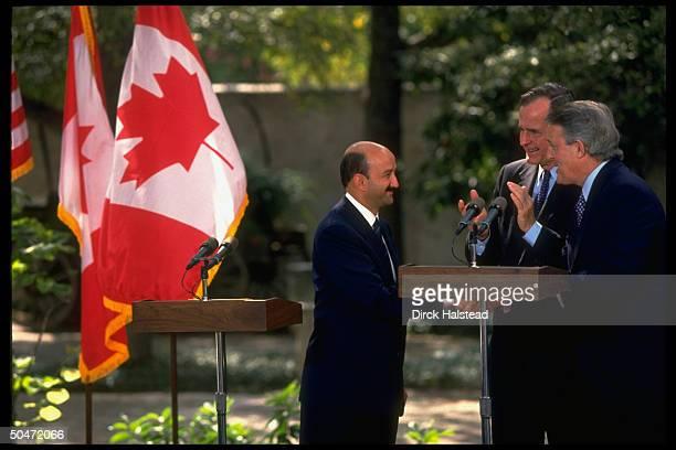 Canadian Pres. Mulroney, Pres. Bush & Mexican Pres. Salinas de Gortari during NAFTA treaty signing fete.