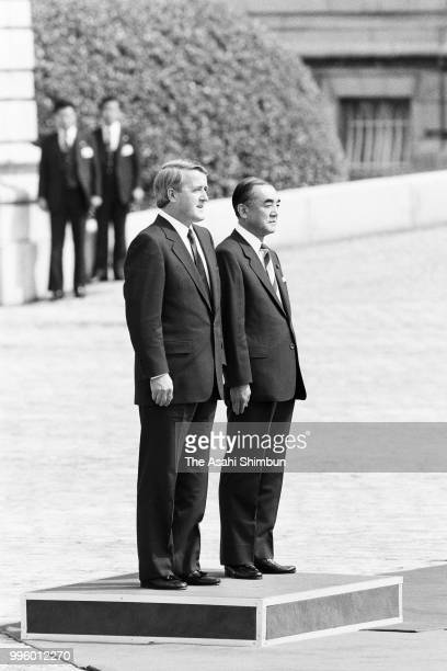 Canadian Prime Minister Brian Mulroney attends the welcome ceremony with Japanese Prime Minister Yasuhiro Nakasone ahead of the Summit meeting at the...