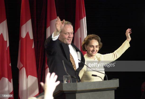 Canadian Prime Minister Jean Chretien and his wife Aline greet supporters November 28, 2000 in Shawinigan, Quebec after Chretien''s Liberal party...